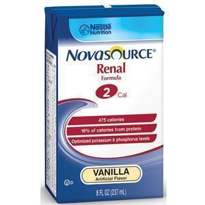 Nestle Healthcare Nutrition Novasource® Renal Nutritional Support Vanilla Flavor Liquid 8oz Briks Pak, 475kcal/237ml, Lactose-Free, Gluten-Free