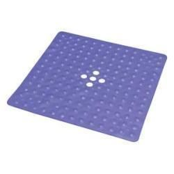 Deluxe Shower Mat With Drain, Large 21 X 21, Blue