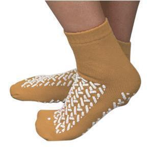 Double Tread Patient Safety Footwear Large, Tan, Exterior Terrycloth